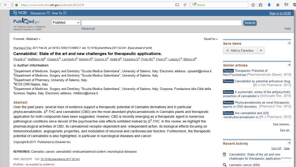 Cannabidiol: State of the art and new challenges for therapeutic applications